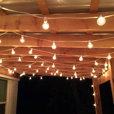 how to string lights outside the best outdoor patio string lights patio reveal