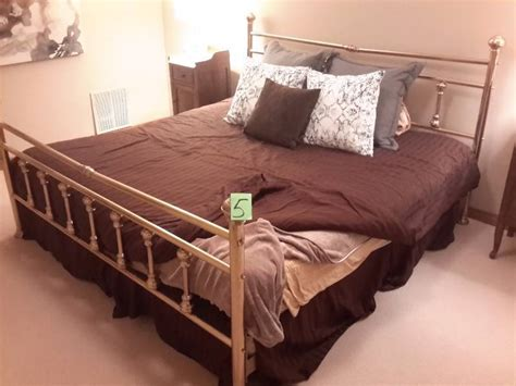 King Size Brass Bed Frame. Headboard, Footboard And Side