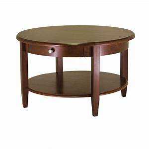 concord round coffee table with drawer and shelf ojcommerce With coffee table with drawers and shelf
