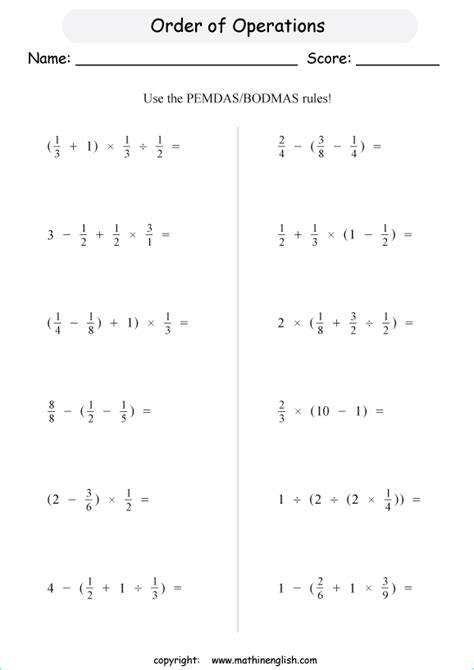 fraction order of operations worksheets with positive