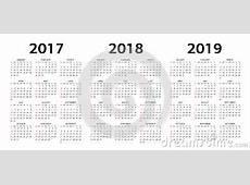Vector Moldes Do Calendário 2017, 2018, 2019 Ilustração do