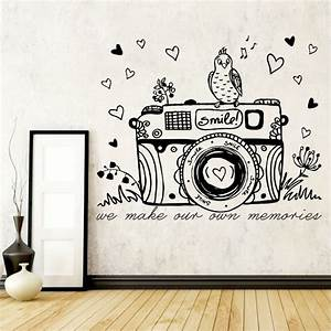 wall art ideas design camera vinyl wall art sample bird With white vinyl lettering for walls