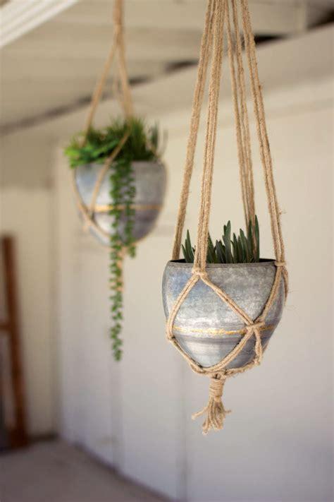 set   hanging galvanized planters  woven jute rope