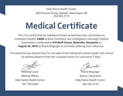 Fake Medical Certificate Template Costumepartyrun