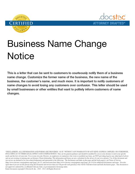 personal  change letter business