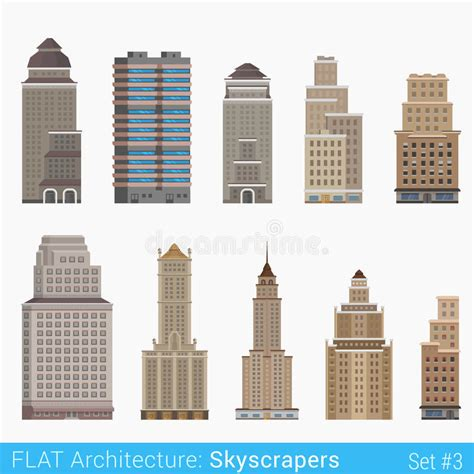 flat style modern classic buildings skyscrapers set stock