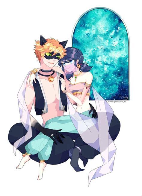 anime couple and cat anime couple black cat ladybug marinette cheng