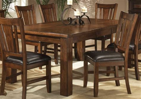 dark oak finish casual dining table woptional chairs