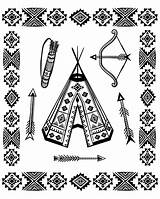 Native Coloring Symbols Tipi Adults Indians Adult Americans sketch template