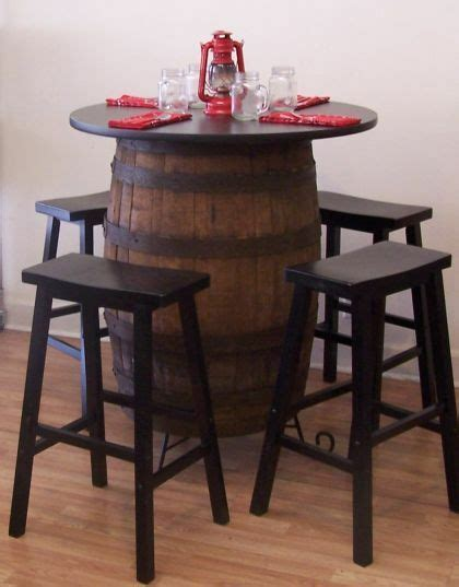 "White Oak Whiskey Barrel Table C/Stand 36"" Tabletop (4) 29"