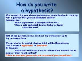 Hypothesis Example Science Fair Project