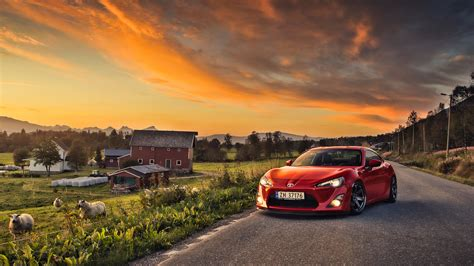Car Sunset Wallpaper by Wallpaper Sunset Farm Cars Sports Car Toyota