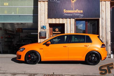 orange volkswagen gti vw golf 7 gti toxic orange wrap by schwabenfolia vw golf
