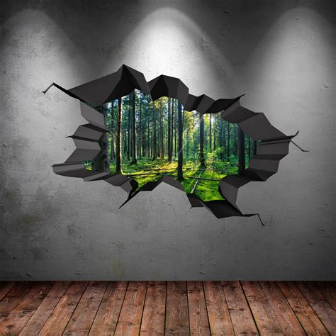 wall 3d painting full colour woods forest trees jungle cracked 3d wall art sticker decal wsdfc47