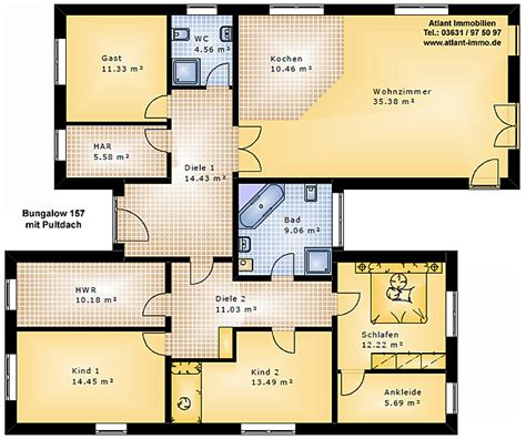 Pultdach Bungalow Grundrisse by Bungalow 157 Mit Pultdach Einfamilienhaus Neubau Massivbau