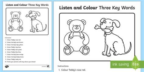 listen and colour three key words worksheet activity sheet