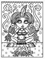 Coloring Adult Indian Native Kleur Digi Stamps Indians Sheets Cowgirls Cowgirl Drawing Pagina Printable Digitale Clip Kleurplaat Cardmaking Fairies Grown sketch template