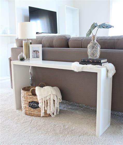 how to decorate a sofa table against a wall diy wood console table saffron avenue saffron avenue