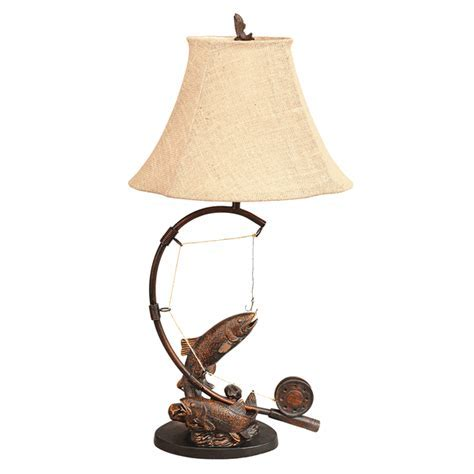 Rustic Table Lamps: Fly Rod Trout Table Lamp Black Forest