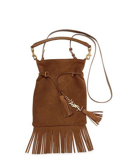 saint laurent monogram suede tassel fringe bucket bag
