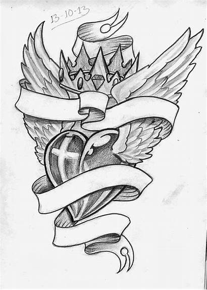 Tattoo Banner Heart Tattoos Sketches Crown Religious