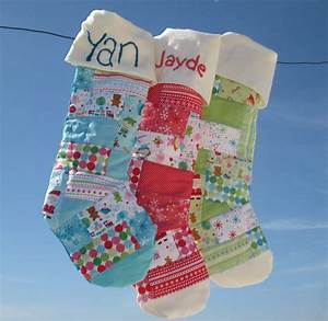 Personalized, Quilted, Baby, Christmas, Stockings, With, Patchwork