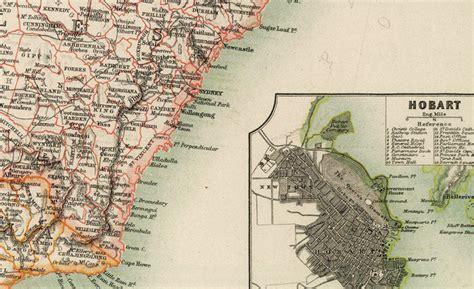 vintage map australia melbourne hobart perth sydney