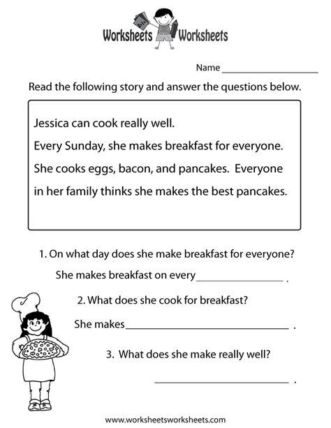 free printable reading comprehension worksheets health