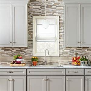 three kitchen makeovers With kitchen cabinets lowes with art wall tiles