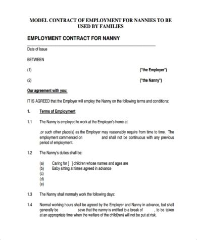 sample nanny contract templates  ms word