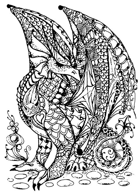 dragon full  scales dragons adult coloring pages