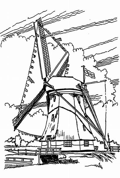 Windmill Dutch Coloring Pages Drawing Netherlands Windmills