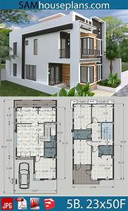 House, Plans, 7x15m, With, 4, Bedrooms