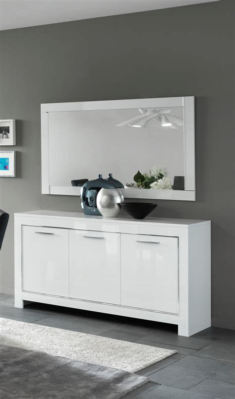 High Gloss Sideboard by Magdelaine Italian White High Gloss Lacquered Sideboard 160cm