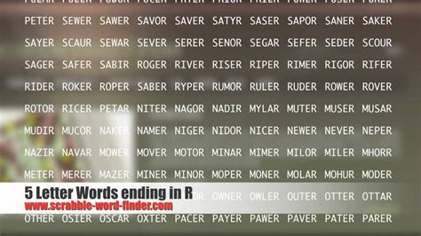 best 5 letter words 5 letter words ending in r