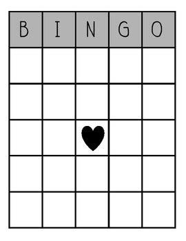 blank bingo board by afanador teachers pay teachers