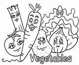 Vegetables Coloring Pages Vegetable Printable Veggies Cartoon Veggie Getcoloringpages Printables Faces sketch template