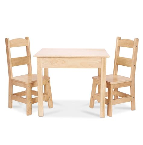 furniture for melissa doug solid wood table and 2 chairs set light finish furniture for playroom party