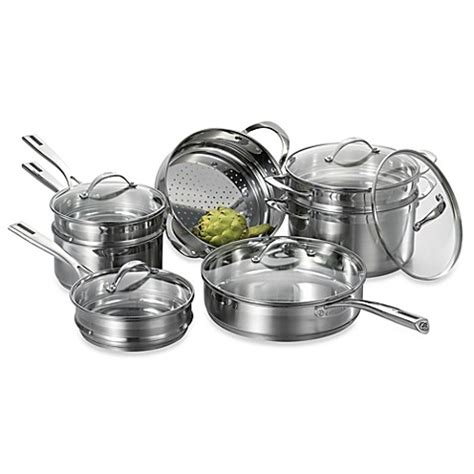 buy cat cora stackable stainless steel  piece cookware set  bed bath