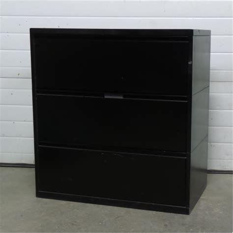 meridian black 3 drawer lateral filing cabinet locking allsold ca buy sell used office