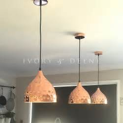 copper pendant light dome hammered style pebble design