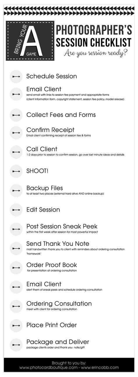 photographers workflow checklist shoot