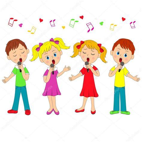 niños y niñas cantando Vector de stock © iris828 #102741654