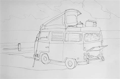 volkswagen old van drawing old vw bus cer van drawing p j cook artist studio