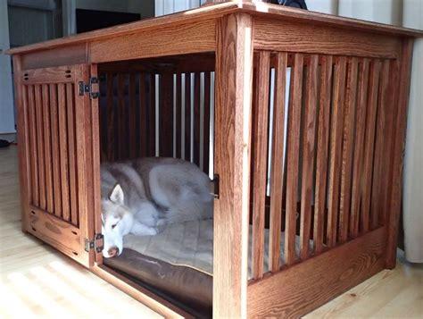 extra large side entry oak dog crate furniture custom