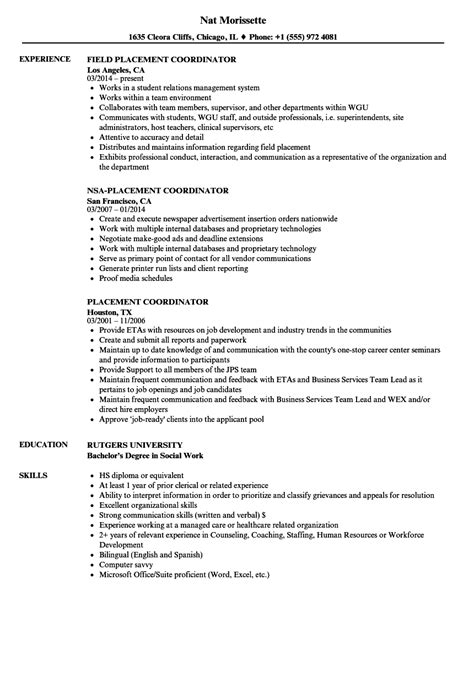 field representative coordinator cover letter placement coordinator resume sles velvet