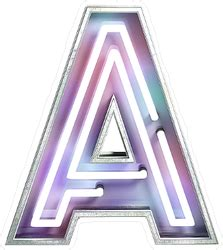 Vivid Neon Font With Fluorescent Tubes Letter A Sticker
