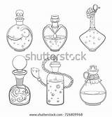Magic Potion Outline Bottles Vector Halloween Illustrations Cartoon Witches Potions Shutterstock Glass Background Magical Alchemy Alchemist Spells sketch template