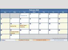February 2022 Canada Calendar with Holidays for printing