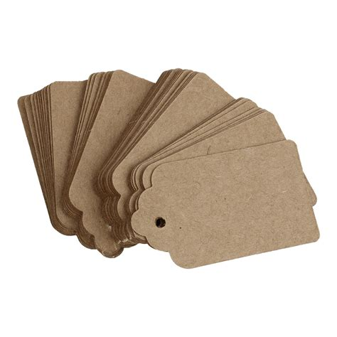 Rustic 40mmx70mm Scalloped Kraft Paper Card Blank Brown